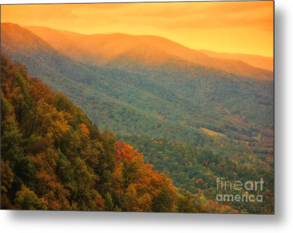 Hint Of Orange On The Blue Ridge Parkway Metal Print