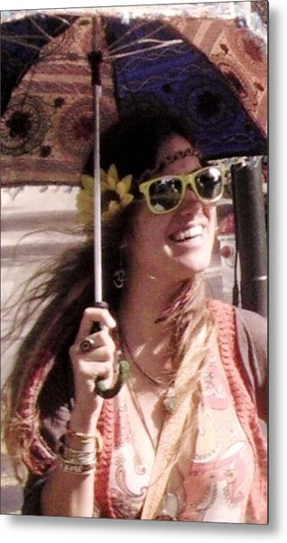 Hippie Chick Metal Print by Sharon Costa