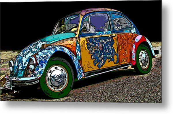Hippie Vw Bug Metal Print