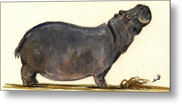 Hippo Happy Metal Print