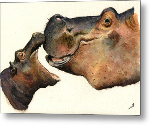Hippos Mom And Son Metal Print