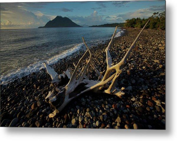 Hiri Island Viewed From A Volcanic Rock Metal Print
