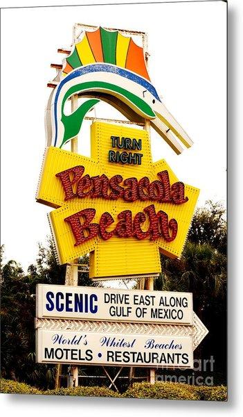 Historic Pensacola Beach Sign Metal Print