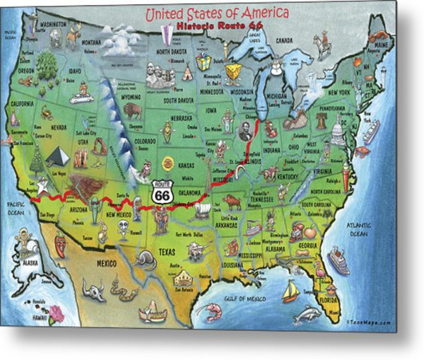 Historic Route 66 Cartoon Map Metal Print