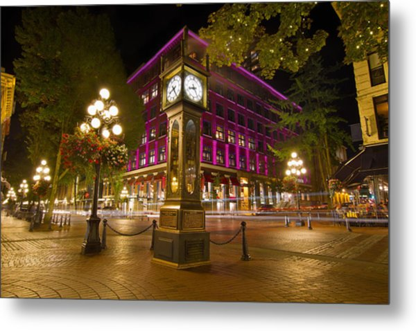 Historic Steam Clock In Gastown Vancouver Bc Metal Print