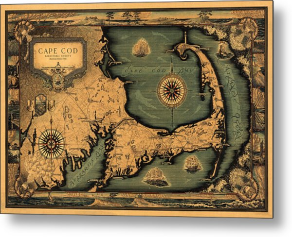 Historical Map Of Cape Cod Metal Print