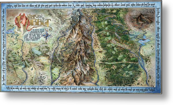 hobbit map metal print by tom koval