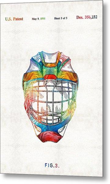 Hockey Art - Goalie Mask Patent - Sharon Cummings Metal Print