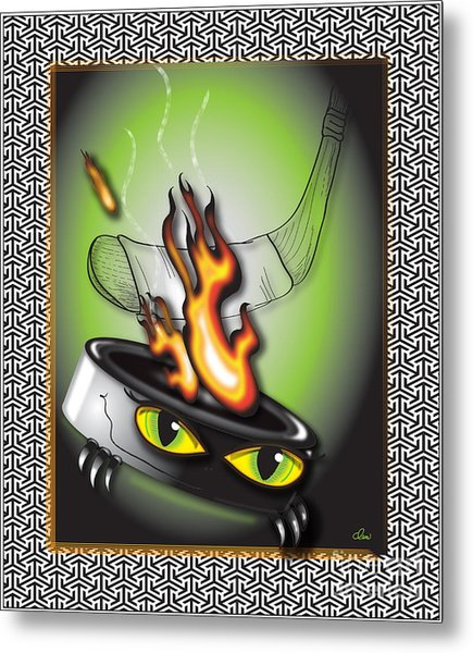 Hockey Puck In Flames Metal Print