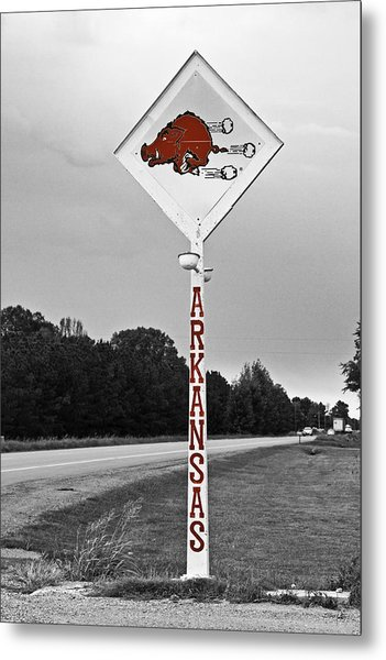 Hog Sign - Selective Color Metal Print