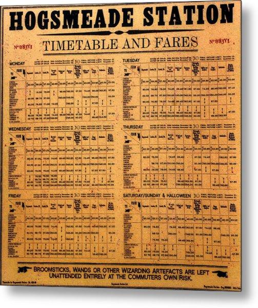 Hogsmeade Station Timetable Metal Print