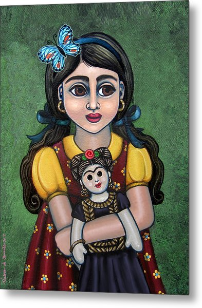 Holding Frida With Butterfly Metal Print