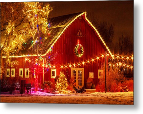 Holiday Barn Metal Print