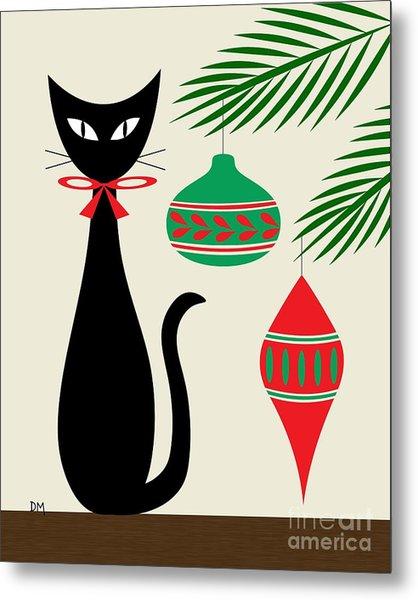 Holiday Cat On Cream Metal Print