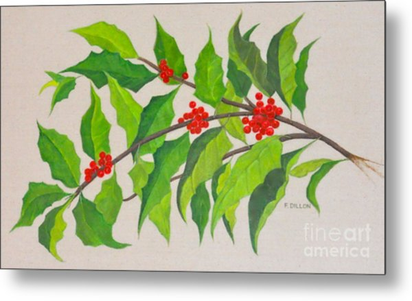 Holiday Holly Metal Print by Frances  Dillon