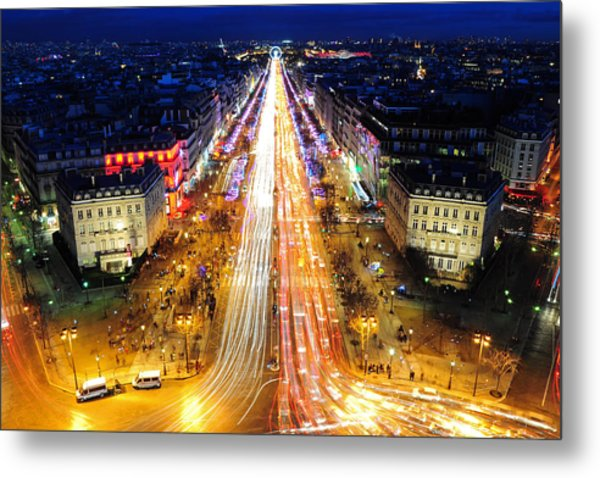 Holiday Lights On The Champs-elysees Metal Print