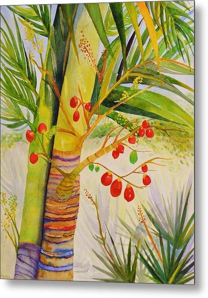 Holiday Palm Metal Print