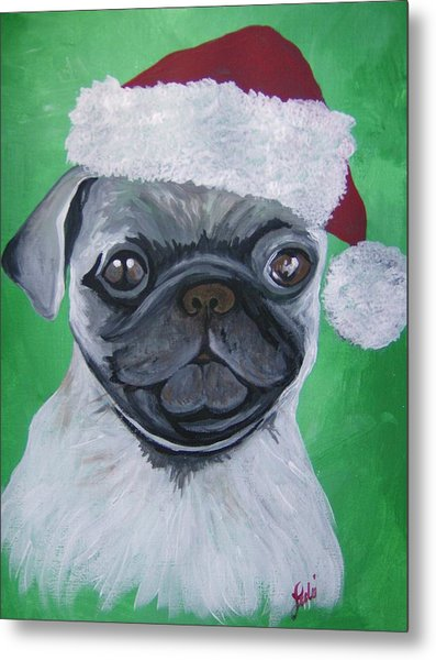 Holiday Pug Metal Print