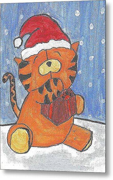 Holiday Tiger Metal Print by Fred Hanna