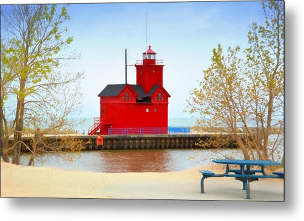 Holland Harbor Light Metal Print