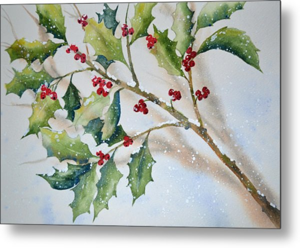 Holly In The Snow Metal Print