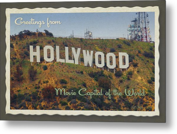 Hollywood Postcard Metal Print by Bill Jonas