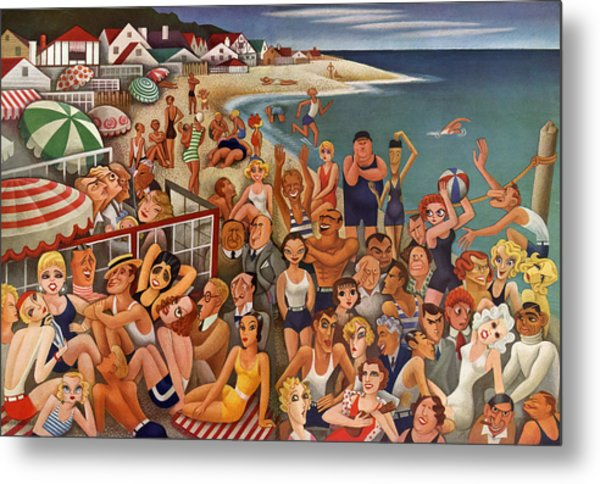 Hollywood's Malibu Beach Scene Metal Print by Miguel Covarrubias