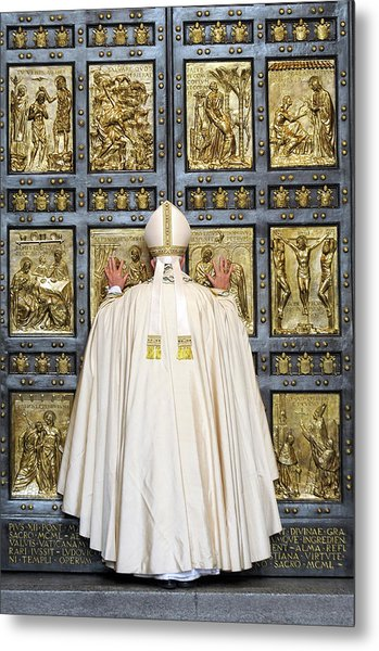 Holy Mass And Opening Of The Holy Door Metal Print by Vatican Pool