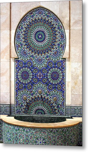 Holy Water Fountain Hassan II Mosque Sour Jdid Casablanca Morocco  Metal Print by PIXELS  XPOSED Ralph A Ledergerber Photography