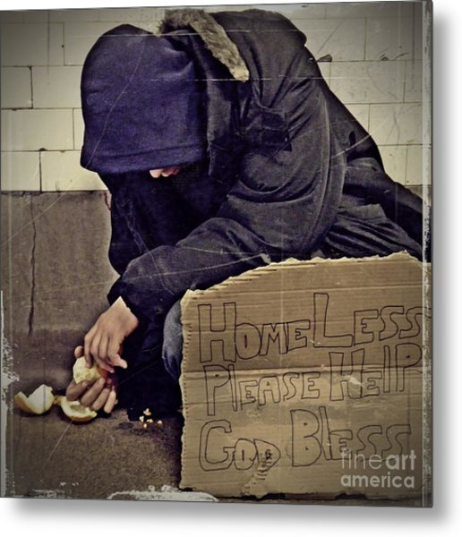 Homeless Please Help Metal Print