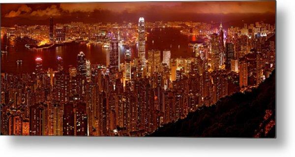 Hong Kong In Golden Brown Metal Print