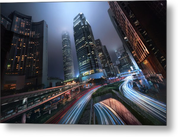 Hong Kong City Lights Metal Print