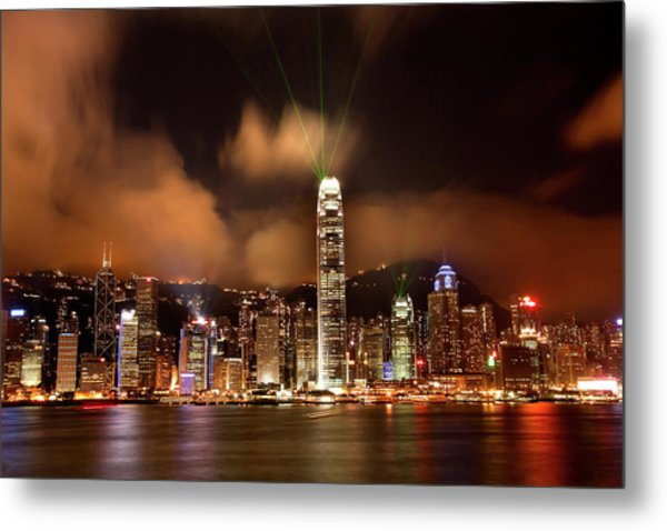 Hong Kong Harbor At Night Lightshow Metal Print by William Perry
