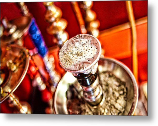 Hookah With Red Background Metal Print