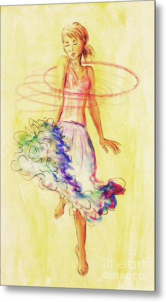 Metal Print featuring the painting Hoop Dance by Angelique Bowman