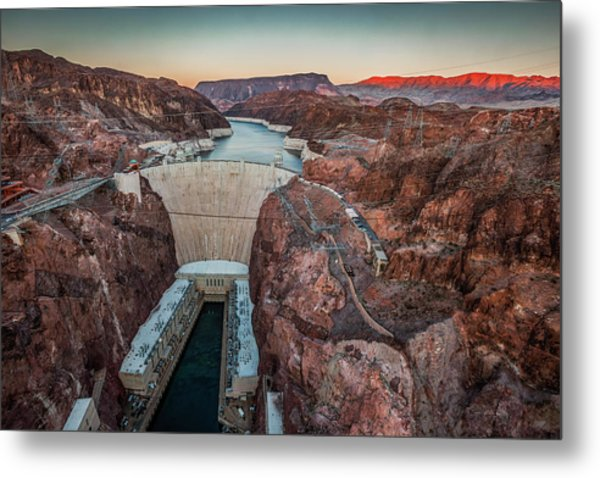 Hoover Dam At Dusk Elevated View Metal Print by Bob Stefko