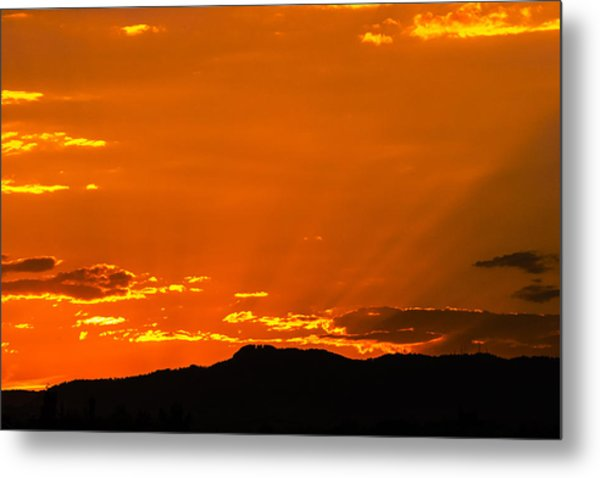 Horetooth Rock At Sunset Metal Print by Rebecca Adams