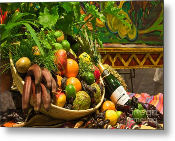 Metal Print featuring the photograph Fruit And Wine 1 by Mae Wertz