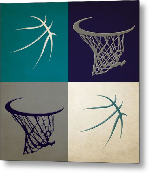 Hornets Ball And Hoop Metal Print