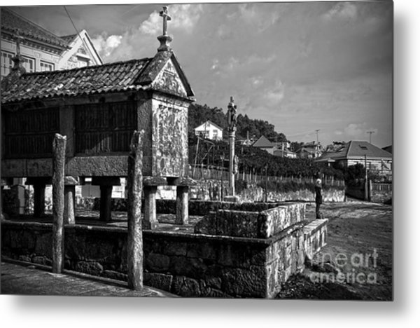 Horreo And Cruceiro In Galicia Bw Metal Print