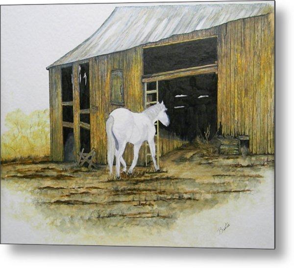Horse And Barn Metal Print