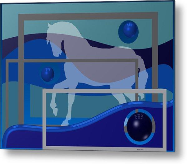 Metal Print featuring the digital art Horse And Blue Balls by Alberto  RuiZ