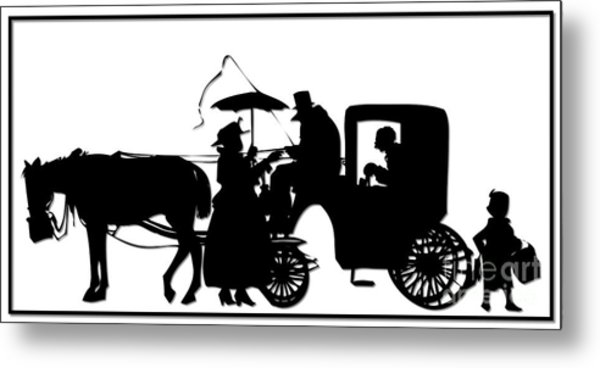 Horse And Carriage Silhouette Metal Print