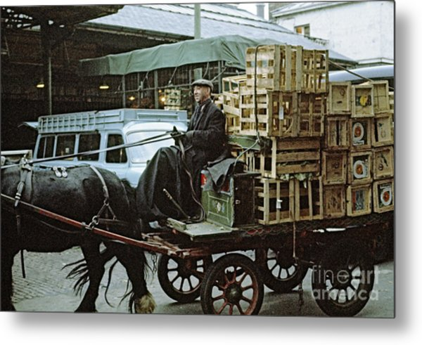 Horse And Cart London 1973 Metal Print by David Davies