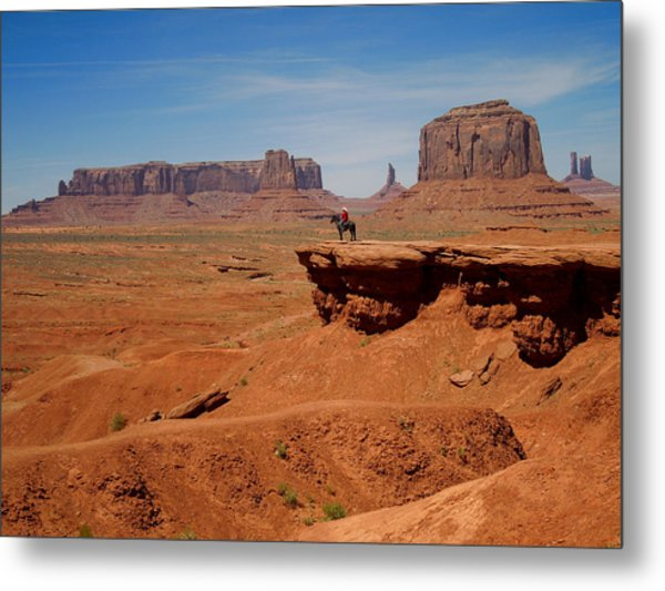 Horse And Rider In Monument Valley Metal Print