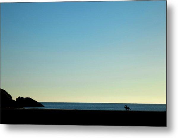 Horse And Rider On Stradbally Beach Metal Print