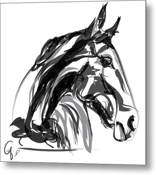 Horse- Apple -digi - Black And White Metal Print
