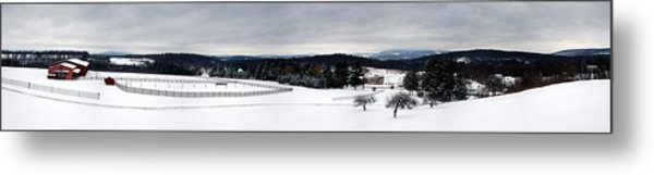 Horse Barn In The Winter Metal Print