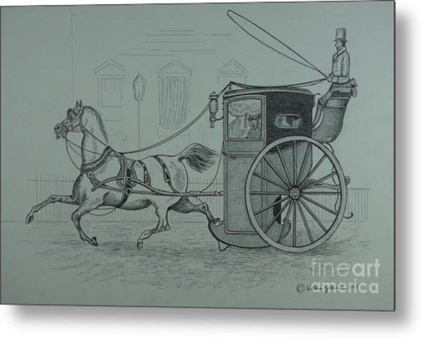 Horse Drawn Cab 1846 Metal Print