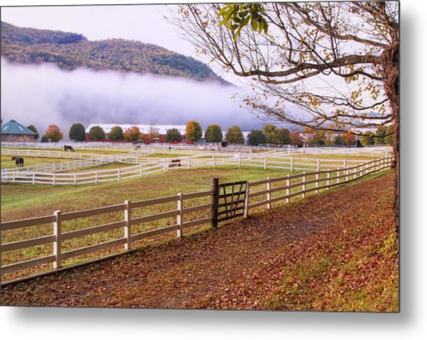 Horse Farm Autumn Metal Print